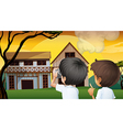 Two young boys taking photos vector image vector image