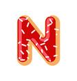 letter n donut font doughnut alphabet sweet vector image