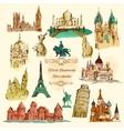 World Landmarks Sketch Vintage Icons Set vector image
