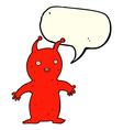 cartoon happy little alien with speech bubble vector image