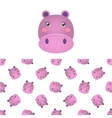 Hippo Head Icon And Pattern vector image