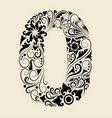 Number 0 floral decorative ornament vector image