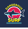 Shark - Dangerous surf - logo badge vector image
