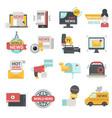 mass media icons set with telecommunications radio vector image