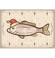 Christmas fish in Santa red hatVintage drawing vector image