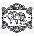 Hand drawn elephant deity in oriental frame vector image