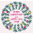 Colorful poster with decorative christmas wreath vector image