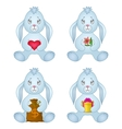 rabbits sitting with gift set vector image vector image