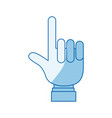 blue color shading silhouette hand pointing up vector image