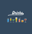 glass of various drinks and cocktails vector image