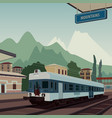 old train at railway station of european town vector image