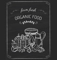 organic food doodle on the black board vector image