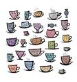 Set of ornate mugs Sketch for your design vector image