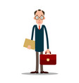 teacher man in glasses with briefcase vector image