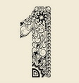 Number 1 floral decorative ornament vector image vector image