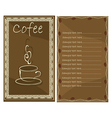 Coffee menu for cafe vector image