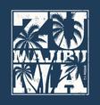 malibu zuma beach tee print with palm trees vector image