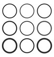 set of round black monochrome rope frame vector image