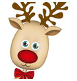color background of christmas reindeer face vector image