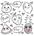 doodle of fruit black white vector image