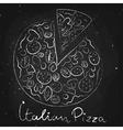 Italian pizza drawn in chalk on a blackboard vector image