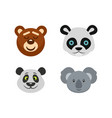 bear head icon set flat style vector image