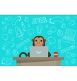 Business Monkey with handdrawn Doodles vector image