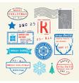 Christmas stamps set vector image