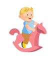 cute plump boy rides toy horse isolated vector image