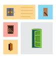 flat icon door set of saloon lobby entry and vector image