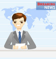News announcer telling news in studio - vector image