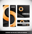 Orange circle black banner template design set vector image