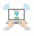 People using laptop with wifi vector image