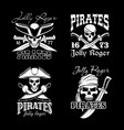 pirate skull with hat and sward symbol set vector image vector image