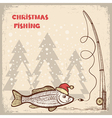 Christmas fishing card with fish in red Santa hat vector image