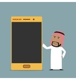 Arabian businessman with golden mobile phone vector image