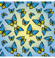 Butterfly blue-yellow seamless texture vector image