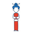 chinese woman character avatar of orange and white vector image