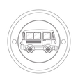 circular contour of silhouette with mini bus vector image