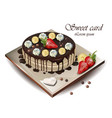 delicious cake with fruits realistic vector image