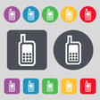 Mobile phone icon sign A set of 12 colored buttons vector image
