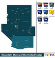 mountain states of the united states vector image