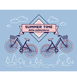 retro bicycle with basket and text summer vector image