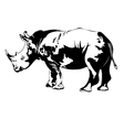 rhino black and white vector image