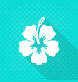 white hibiscus flower flat icon vector image