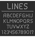 Retro Line Alphabet and Numbers vector image