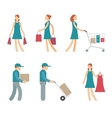 Shopping Characters and employees of delivery on vector image
