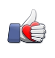 Like symbol icon with heart vector image