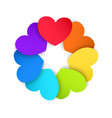 Circle of colored paper hearts vector image