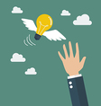 Hand catching a light bulb fly vector image